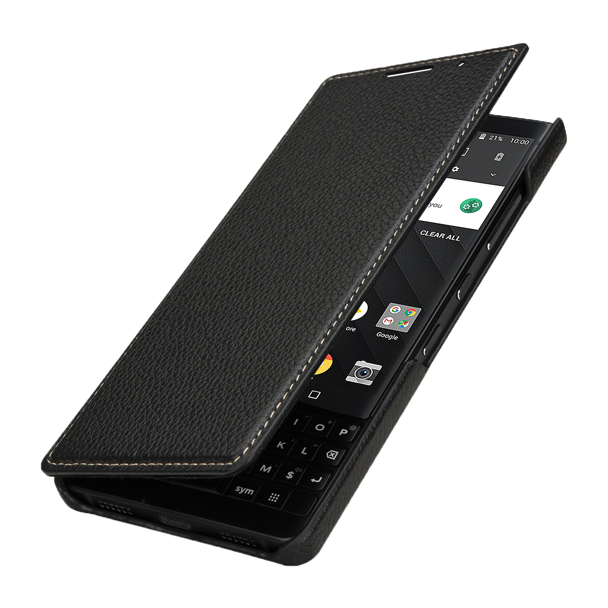 StilGut BlackBerry KEY2 Cover Book Type Black Nappa