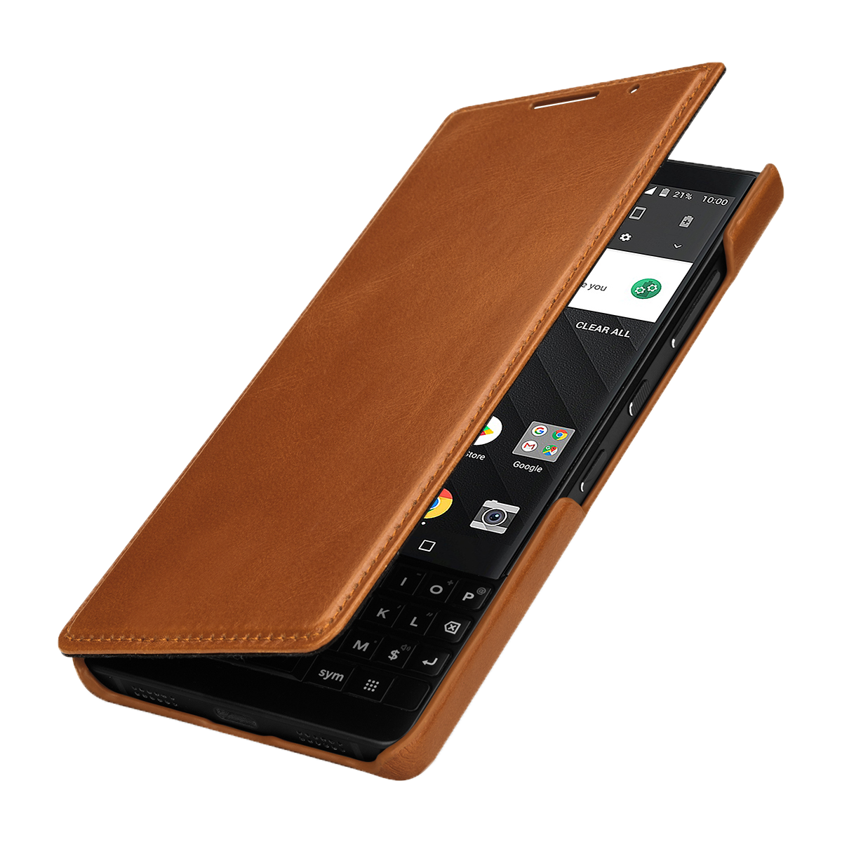 StilGut BlackBerry KEY2 Cover Book Type Cognac
