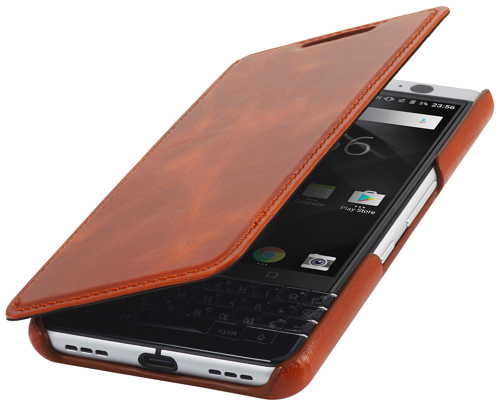 StilGut BlackBerry Keyone Cover Book Type Cognac