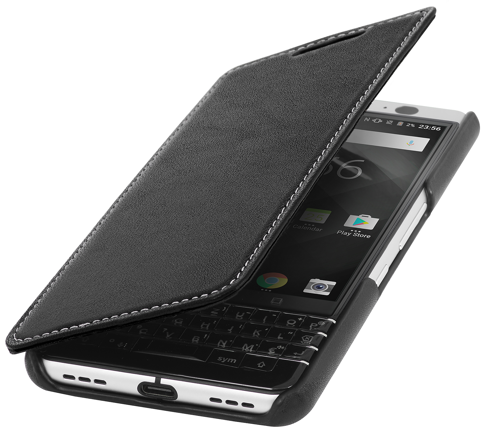 StilGut BlackBerry Keyone Cover Book Type Black Nappa